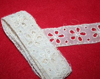 Vintage Embroidered Cotton Organdy Eyelet- 1 Yard