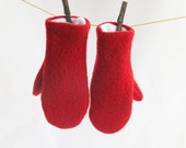Women's recycled boiled wool sweater mittens Christmas red