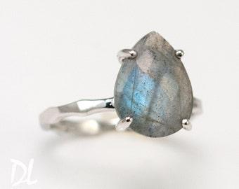 Labradorite Ring Silver - Solitaire Ring - Stone Ring - Stacking Ring - Silver Ring - Tear Drop Ring - Prong Set Ring