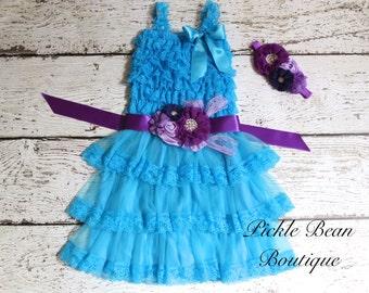 Rustic Flower Girl Dress, Turquoise Purple Baby Dress, Sash Belt Headband, Party Dress, Kids Wedding, Lace Flower Girl Dress, Cowgirl Dress