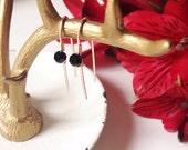 Gold Black Crystal Earrings, Gold Hoop Threader, Minimalistic Earring, Modern Edgy Earrings