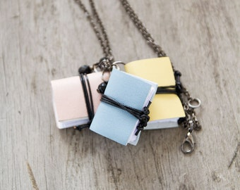 Tiny book pendant, journal necklace, pastel leather literature necklace, mini book jewelry, spring jewelry, miniature book necklace