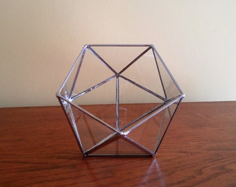 Stained glass geometric terrarium silver coffee table art home decor indoor gardening clear glass icosahedron handmade