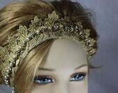Gold Crown bridal Headband .. Bridal Headpiece .. Winter Wedding .. Bridal Crown ..Gift for Her .. Custom Designs .. FREE shipping worldwide