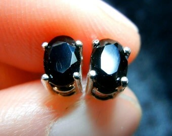 Black onyx and sterling silver post earrings