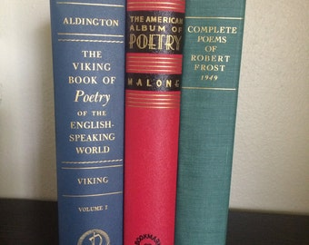 Set of 3 Vintage Poetry Books - poems - home decor- bookshelf decor - wedding decorations farmhouse decor instant library