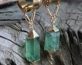 Green Fluorite Magnetic Clasp Gauged Earrings