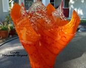 Handmade Orange Fused Glass Vase