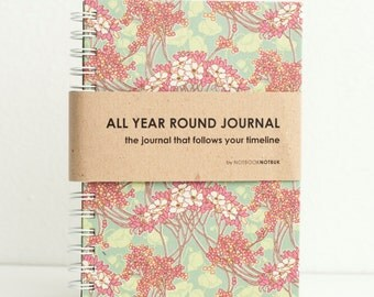 All Year Round Timeless Journal / Planner (Self-filled dates, fabric wrapped)- Mulberries