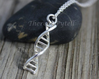 DNA Sterling Silver Pendant - Gift for Science