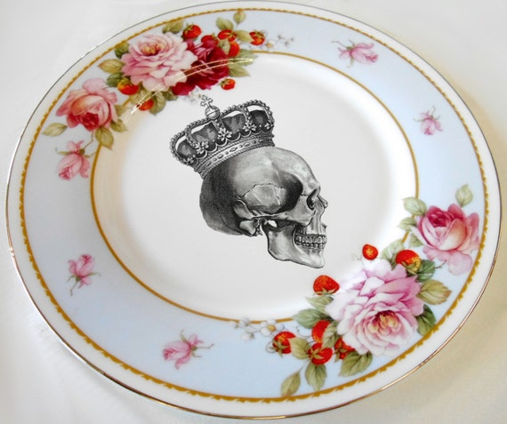 Floral Skull Rose Valentine Salad / Tea Snack Plates 7.5\  Matching Teacups Available & Floral Skull Rose Valentine Salad / Tea Snack Plates 7.5\