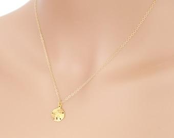 Sand Dollar Necklace, Gold Sand Dollar, Beach Jewelry, Sand Dollar Jewelry, Beach Lovers Gift, Sand Dollar Pendant