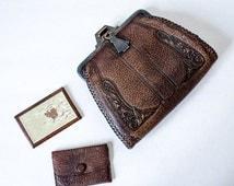25% OFF SALE / 1920s vintage purse / tooled leather purse / Art Deco leather clutch