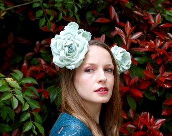 Mucha Inspired Soft Spearmint Blue Flower Wreath Headdress Fascinator