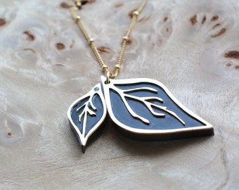 Simple leaves pendant, statement necklace, Gold-filled Chain, woodland jewelry, acrylic jewelry, laser cut locket, botanical jewelry
