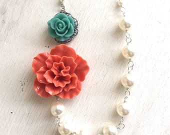 Coral and Turquoise Rose Asymmetrical White Swarovski Pearl Necklace.  Bridesmaid Statement Necklace.  Bridal Party Jewelry.