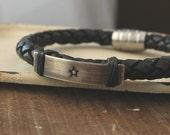 Men's Silver or Copper Hand Stamped Star Leather Bracelet- Men's Star Leather Bracelet, Men's Leather Bracelet P-307