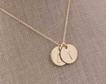 """Two Gold-Filled 1/2"""" Initial Pendant Necklace - Mom, Mother, Mommy, Children, Kids, Grandma, Grandmother, Mema, Gift for Her, P-175"""