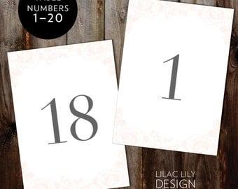 Custom listing ~ 1 - 30 ~ Printable Wedding numbers ~ Floral Printable Table Numbers  ~ Blush table numbers