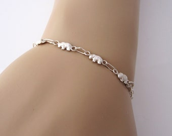 Five little elephants sterling silver bracelet, size adjustable