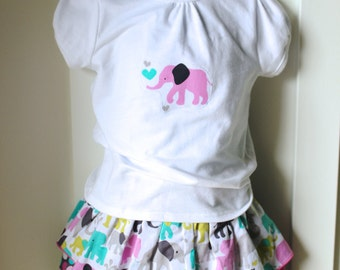 Elephant and Polka Dot Ruffle Skirt Set