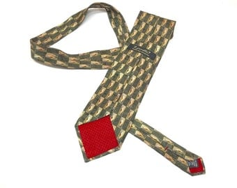 Vintage Italian Silk Zianetti Necktie - Designer Tie - Geometric Pattern Green Gold Rust - Red Silk Lining