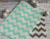 XOXO SALE 100 Gold and Mint Chevron Candy Bags, Wedding Candy Bags, Popcorn Bags, Mint and Gold Favor Bags