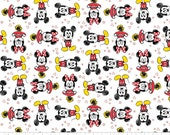 Camelot Fabrics. Mickey Mouse & Friends. Mickey and Minnie in White - BTY Cotton Fabric - Choose your cut