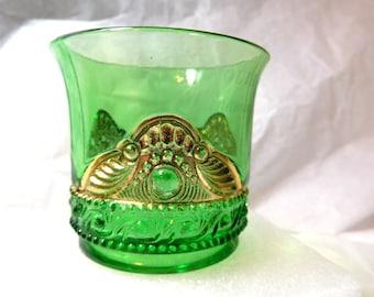 Antique Emerald Toothpick holder US Glass 'Colorado' 1890's Souvenir Wanamingo, Minn.