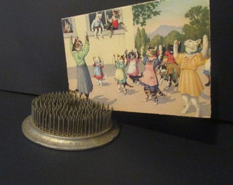 Vintage Round Cast Iron Spike Flower Frog Nice postcard Photo Holder Display