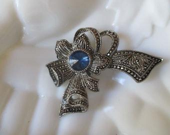 Ribbon Bow Pin Royal Blue Rhinestone & Marcasite