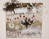 Contemporary Abstract landscape Modern wall art embroidery Cow Parsley Dandelion shadow Framed wall art Red poppy Sculpture wall art Winter