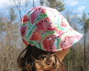 Big Girl Bonnet, Sun Hat Toddler Girl Summer Sun Bonnet Baby Beach Hat, Watermellons
