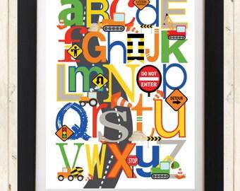 CONSTRUCTION ABC Nursery Art Print