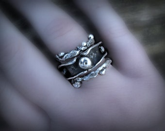 Beautiful rugged silver stack rings