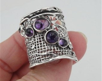 Hadar Jewelry Handcrafted Sterling Silver Amethyst Ring size 7.5, Purple 925 Silver ring, Israeli Jewelry, Birthday gift, Everyday  (H 144)
