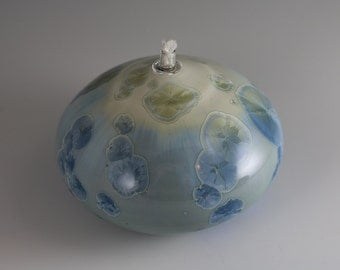 Light Blue Gradient Crystalline Glazed Oil Lamp