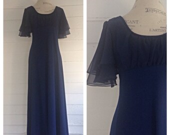 Vintage MIDNIGHT Navy Blue Floor-Length Dress