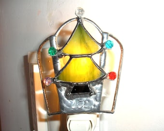 LT Stained glass Christmas tree night light lamp with colored beads