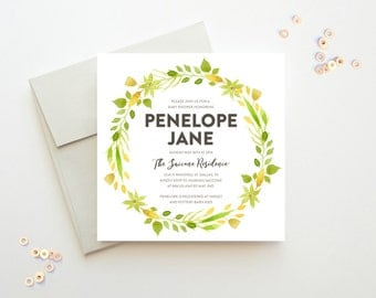 Printable Baby Shower Invitation, Watercolor Succulents Shower Invitation, Yellow Green Wreath Invite, Baby Shower Printable, Gender Neutral