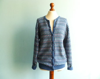 Vintage womens nordic cardigan sweater scandinavian / blue pastel / cotton / fall winter / slouchy loose / medium