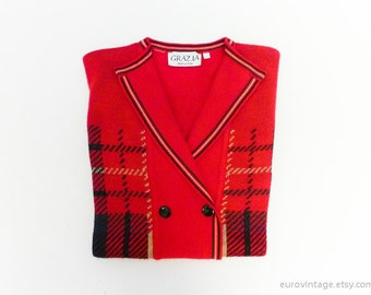 Vintage red sweater top check checked / tartan plaid /  buttoned / with collar / medium