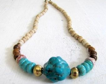 50% off SALE Turquoise Necklace Boho Beaded Necklace Turquoise Nugget Necklace Boho Jewelry Tribal Necklace Beach Jewelry Summer Necklace Su