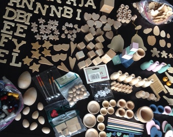 Large Collection of Various Wood Shapes, Books, bottles, jars, hearts, apple, plate, bowl, star, heart, half egg, letter, blocks, game piece