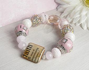 Faith Bracelet, Religious Bracelet, Faith Jewelry, Strength Jewelry, Inspirational Jewelry, Pink Bracelet, Crystal Jewelry, White Bracelet