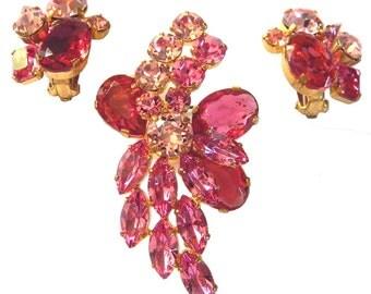 1950s Vintage Pink Austrian Crystal Brooch and Earring Set