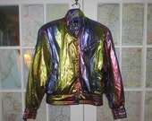 Vintage 1980s/90s Glam Metallic Skea High Style Ski Jacket Made in Colorado Paris/Vail Women's Size 8 Excellent Condition w/ Shoulder Pads