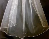 Wedding Veil Swarovski Crystal Rhinestone Sheer Fingertip Bridal Veil with Silver Pencil Edge Trim