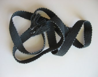 hand-woven wool inkle belt dark gray