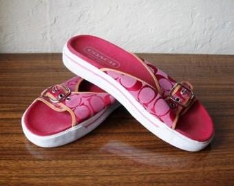 COACH Red Slide Slip On Sandals 9 B EXCELLENT Condition